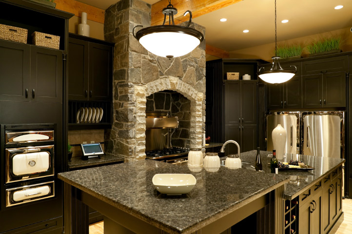 Granite Dark-Kitchen Countertop Black Cabinets