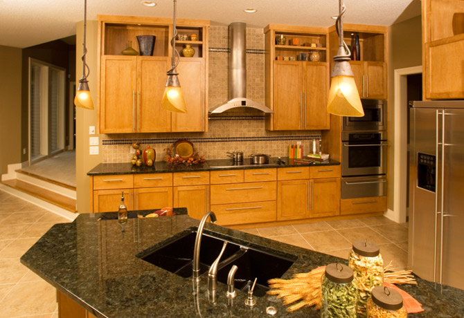 Granite Kitchen Countertops black modern cabinets