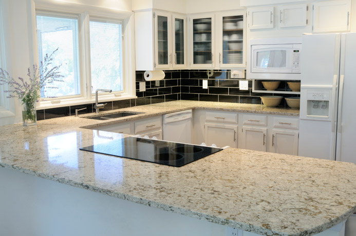 Granite Kitchen Countertop white cabinets white